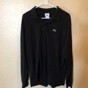 Lacoste long sleeve black polo